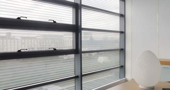 Frosted Vinyl Vertical Blind Look , Vinyl Decorative and Privacy