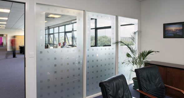 Frosted Vinyl Checkered Squares Pattern with Large Transpararent Section , Vinyl Decorative and Privacy