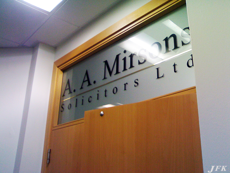 Designed and fitted  a  Lettring Vinyl  Sign  for our customer A.A. Misrsons Solicitors  who are based in  East  London