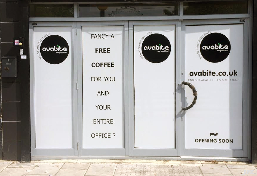 Designed and fitted a Temporary Vinyl Windo Graphics  Sign for our customer Avabite  who is based in London SE1