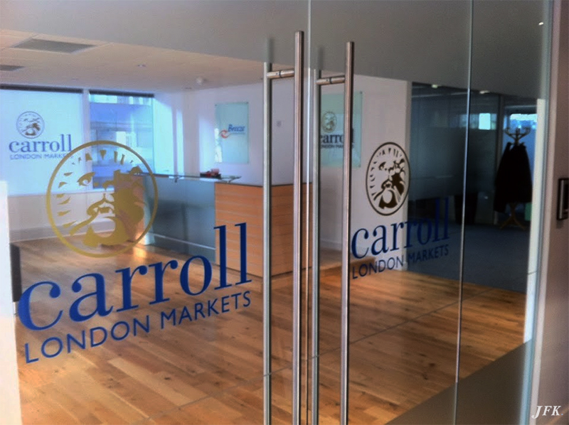 Indoor Vinyl project, lettering & logo for our client CARROLL LONDON MARKETS