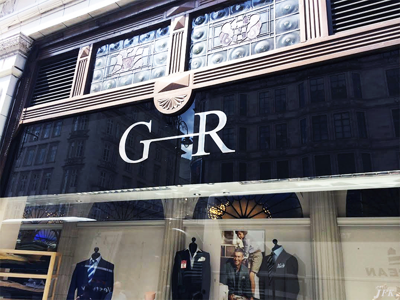 Indoor Vinyl project, lettering for our client GEE RICCI MENSWEAR FASHION