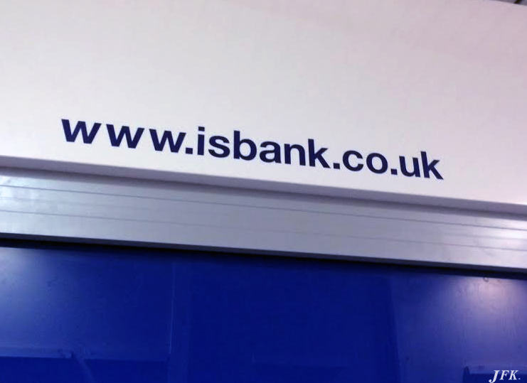 Indoor Vinyl project, lettering for our client IS BANK