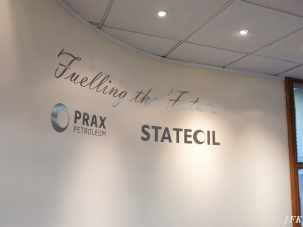 Indoor Vinyl project, lettering for our client PRAX PETROLEUM